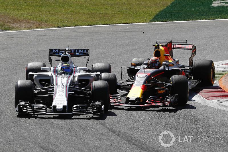 Ainda no começo da prova, problemas para Max Verstappen: o holandês se tocou com Felipe Massa, sofreu um furo de pneu e viu qualquer chance de bom resultado escapar de seu alcance.