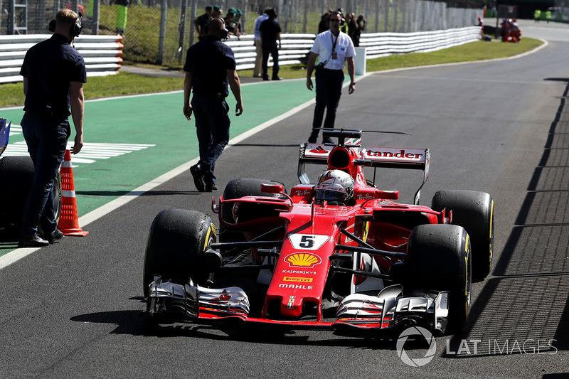 Sebastian Vettel, Ferrari arrives in parc ferme