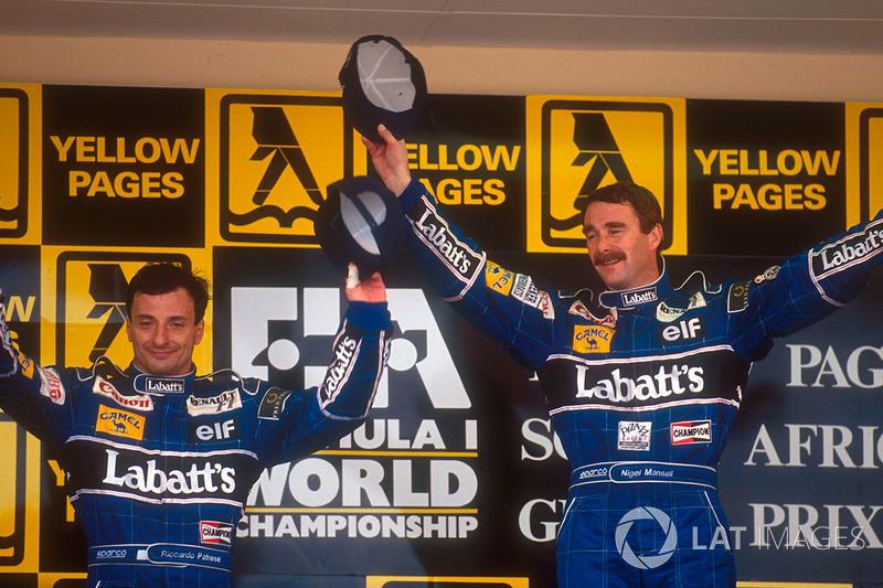 Nigel Mansell, Williams ganó por delante de Riccardo Patrese en el GP de Sudáfrica que abría la temporada 1992