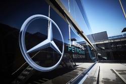 Mercedes logo on the team motorhome