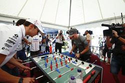 Esteban Ocon, Force India, Stoffel Vandoorne, McLaren, play table football