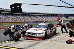 Brad Keselowski, Team Penske Ford, makes a pit stop