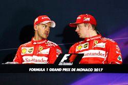 Sebastian Vettel, Ferrari, Kimi Raikkonen, Ferrari, in the post Qualifying Press Conference