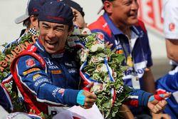 Winnaar Takuma Sato, Andretti Autosport Honda viert feest