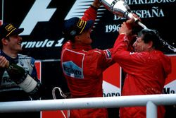 Winner Michael Schumacher, Ferrari F310 covers Jean Todt with Jacques Villeneuve, Williams