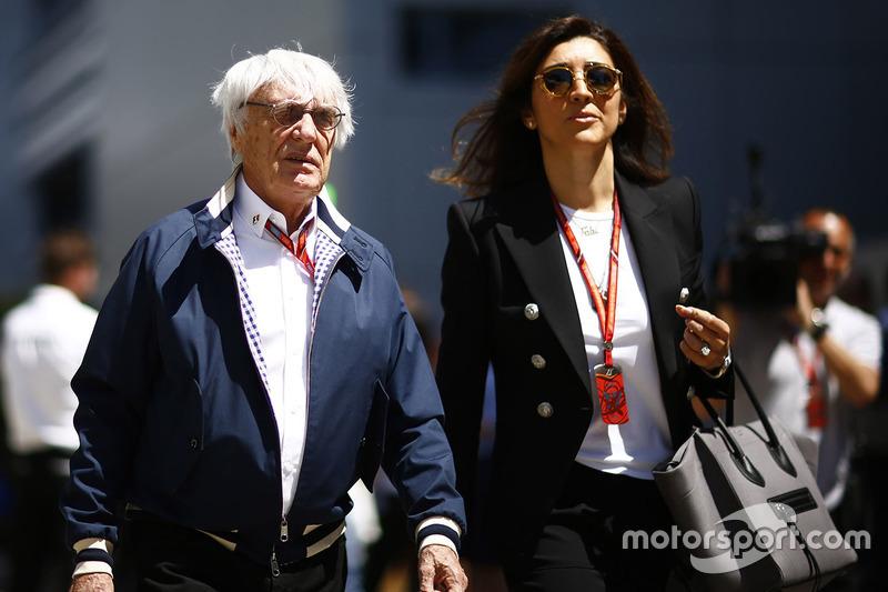 Bernie Ecclestone, Chairman Emeritus of Formula 1, his wife Fabiana