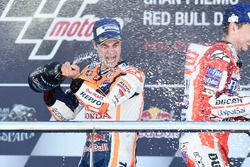 Podium: Racewinnaar Dani Pedrosa, Repsol Honda Team