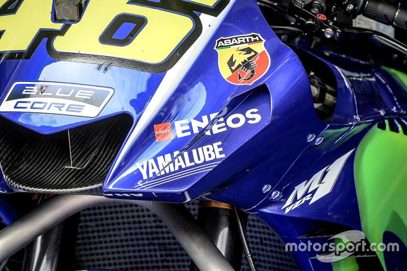 Détail de la moto de Valentino Rossi, Yamaha Factory Racing