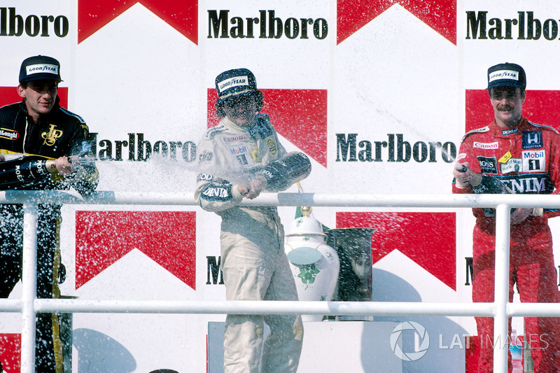 Podyum: Yarış galibi Nelson Piquet, Williams, 2. Ayrton Senna, Lotus, 3. Nigel Mansell, Williams