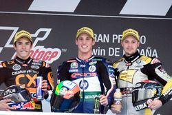 Podium: second place Marc Marquez, Race winner Pol Espargaro, third place Thomas Luthi