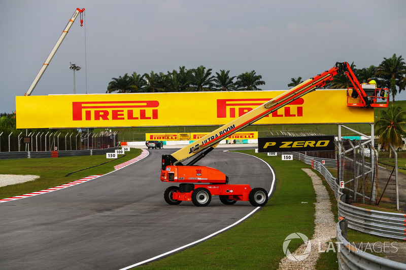 Pirelli signage is erected
