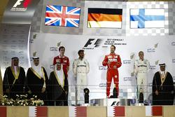 Podium: race winner Sebastian Vettel, Ferrari, second place Lewis Hamilton, Mercedes AMG F1, third place Valtteri Bottas, Mercedes AMG F1