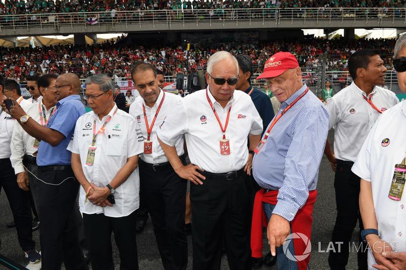 Niki Lauda, Presidente Non-Esecutivo Mercedes AMG F1 e Najib Razak, Primo Ministro della Malesia