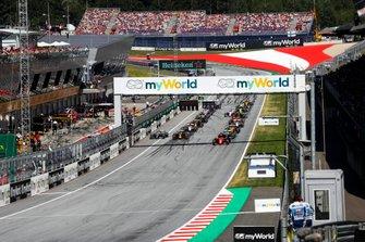 Arrancada Charles Leclerc, Ferrari SF90, Max Verstappen, Red Bull Racing RB15, Lewis Hamilton, Mercedes AMG F1 W10