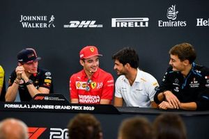 Max Verstappen, Red Bull Racing, Charles Leclerc, Ferrari, Carlos Sainz Jr., McLaren and George Russell, Williams Racing in the Press Conference