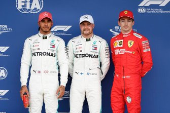 Pole sitter Valtteri Bottas, Mercedes AMG F1, second place Lewis Hamilton, Mercedes AMG F1, third place Charles Leclerc, Ferrari