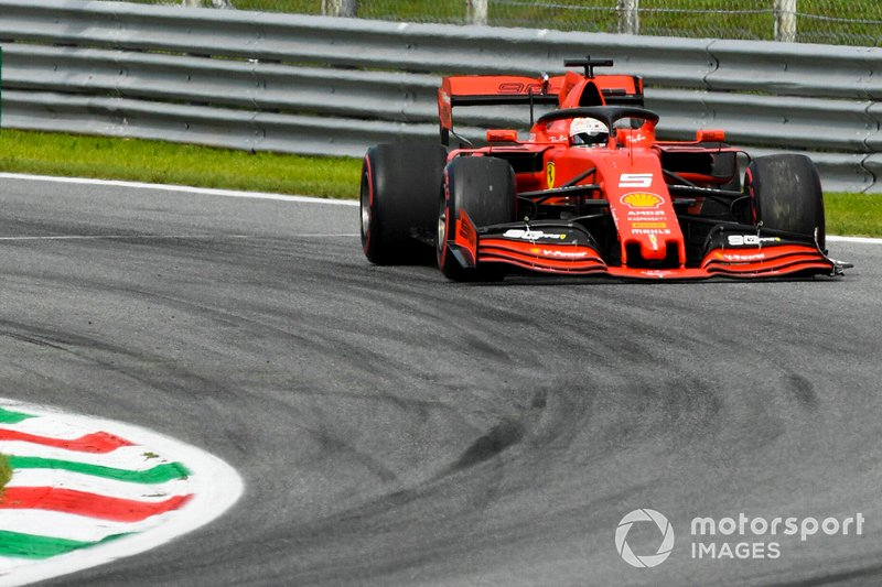 Sebastian Vettel, Ferrari SF90, with damage from hitting Stroll