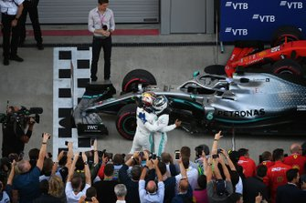 Lewis Hamilton, Mercedes AMG F1, 1st position, and Valtteri Bottas, Mercedes AMG F1, 2nd position, celebrate in Parc Ferme