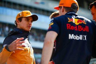 Lando Norris, McLaren, en Max Verstappen, Red Bull Racing