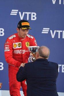 Charles Leclerc, Ferrari, 3rd position, receives his trophy