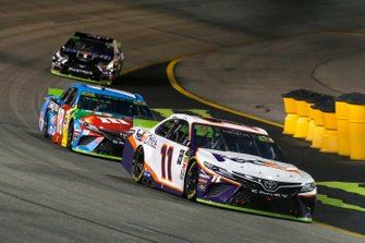 Denny Hamlin, Joe Gibbs Racing, Toyota Camry FedEx Office and Kyle Busch, Joe Gibbs Racing, Toyota Camry M&M's Hazelnut