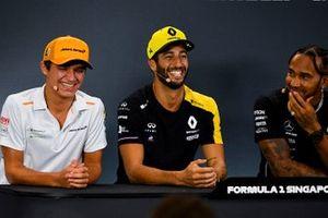 Lando Norris, McLaren, Daniel Ricciardo, Renault F1 Team en Lewis Hamilton, Mercedes AMG F1