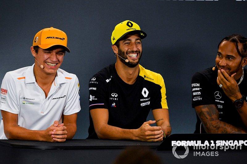 Lando Norris, McLaren, Daniel Ricciardo, Renault F1 Team and Lewis Hamilton, Mercedes AMG F1 in the Press Conference