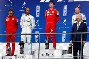 Charles Leclerc, Ferrari, Lewis Hamilton, Mercedes AMG F1 en Valtteri Bottas, Mercedes AMG F1