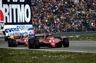 Gilles Villeneuve, Ferrari 126C2, devant Didier Pironi, Ferrari 126C2