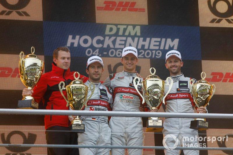 Podium: Race winner Nico Müller, Audi Sport Team Abt Sportsline, second place Mike Rockenfeller, Audi Sport Team Phoenix, third place René Rast, Audi Sport Team Rosberg