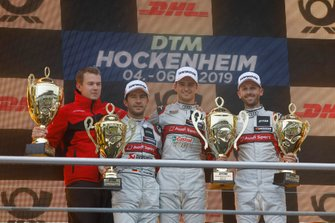 Podium: Race winner Nico Müller, Audi Sport Team Abt Sportsline, second place Mike Rockenfeller, Audi Sport Team Phoenix, third place René Rast, Audi Sport Team Rosberg