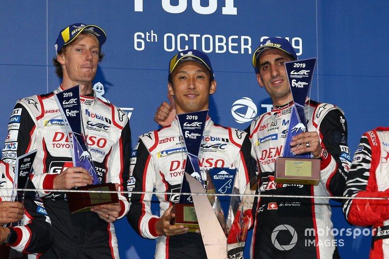 Podium: Race winner #8 Toyota Gazoo Racing Toyota TS050 - Hybrid: Sébastien Buemi, Kazuki Nakajima, Brendon Hartley