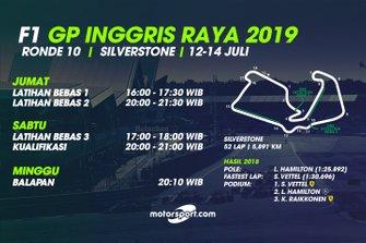 Jadwal F1 GP Inggris Raya 2019