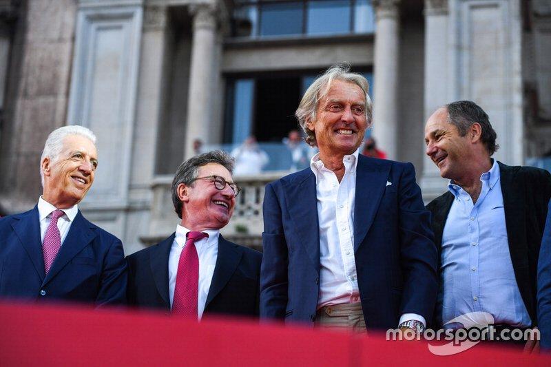 Piero Lardi Ferrari, Luca di Montezemolo, and Gerhard Berger