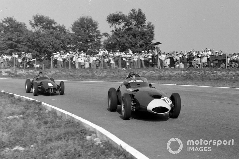 Tony Brooks, Vanwall, leads Jean Behra, BRM P25