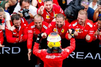Second place Sebastian Vettel, Ferrari celebrates with his team