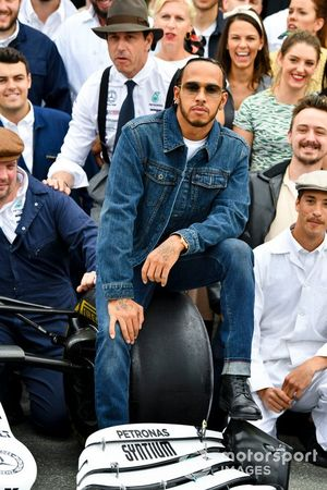 Lewis Hamilton, Mercedes AMG F1 during Mercedes AMG F1 team photograph to celebrate 125th year in motorsport