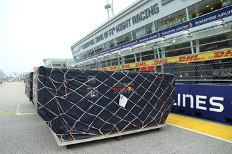 Red Bull Racing freight arrives on the start/finish straight