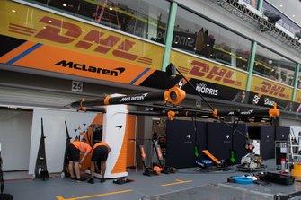 The McLaren pit garage