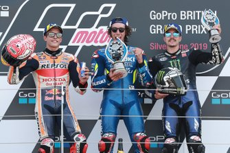 Podium: race winner Alex Rins, Team Suzuki MotoGP, second place Marc Marquez, Repsol Honda Team, third place Maverick Vinales, Yamaha Factory Racing