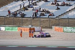 Lance Stroll, Racing Point RP20, climbs out of his car after a collision with Max Verstappen, Red Bull Racing RB16