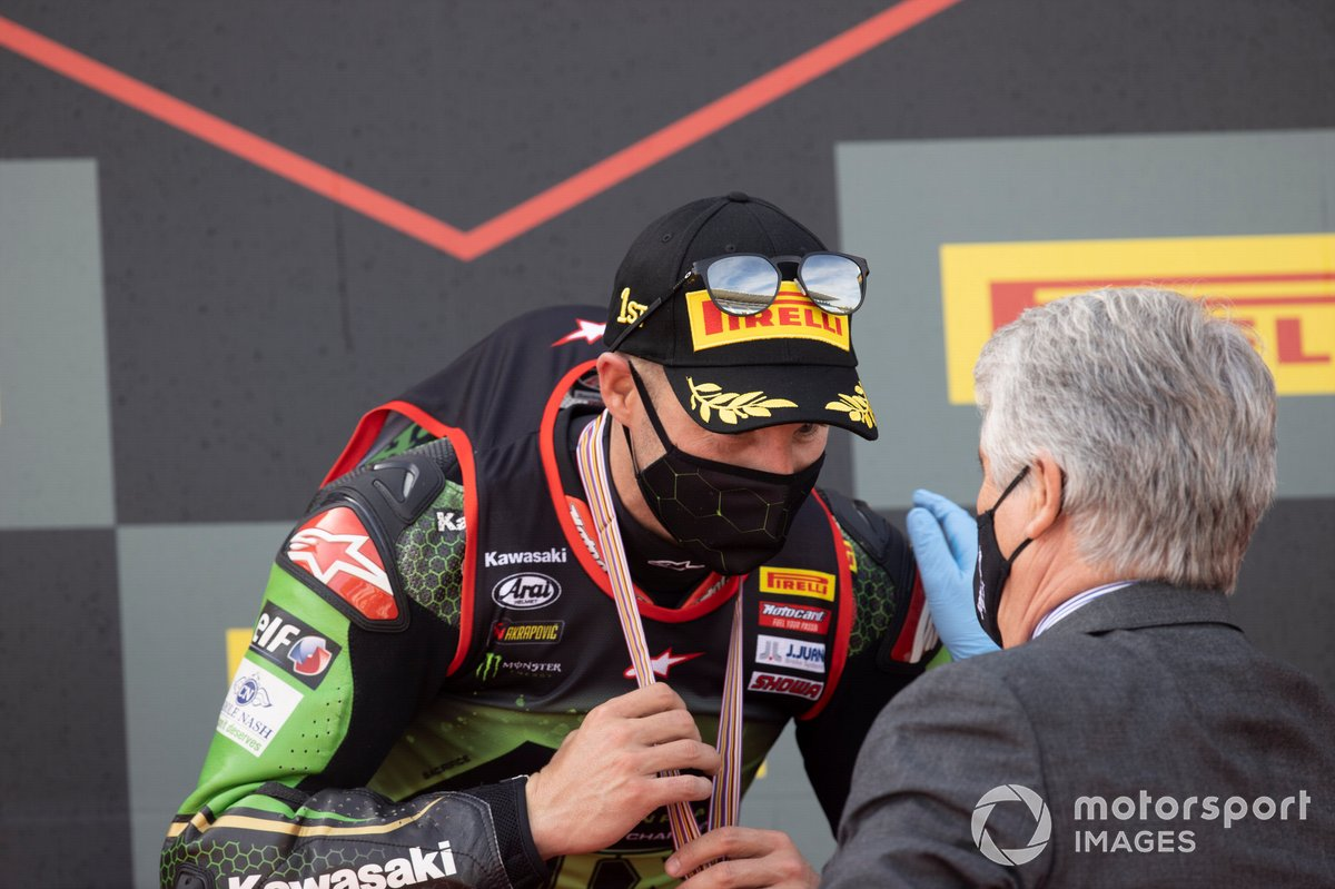 Jorge Viegas FIM president, Jonathan Rea, Kawasaki Racing Team