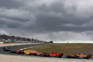 Valtteri Bottas, Mercedes F1 W11, Lewis Hamilton, Mercedes F1 W11, Max Verstappen, Red Bull Racing RB16, Carlos Sainz Jr., McLaren MCL35, Charles Leclerc, Ferrari SF1000, and Lando Norris, McLaren MCL35