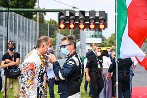 Kai Abel, RTL, on the grid with Bernd Maylander, Safety Car Driver, FIA