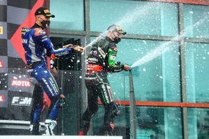 Podium: race winner Jonathan Rea, Kawasaki Racing Team, second place Loris Baz, Ten Kate Racing Yamaha