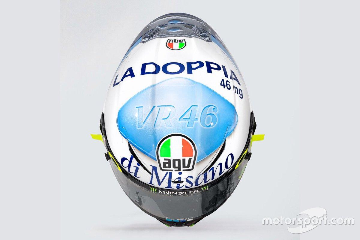 El casco especial de Valentino Rossi, Yamaha Factory Racing, para el GP de San Marino 2020