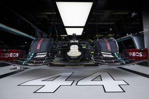 Car of Lewis Hamilton, Mercedes F1 W11 in the garage