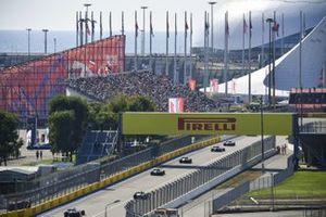 Lewis Hamilton, Mercedes F1 W11, Valtteri Bottas, Mercedes F1 W11, Max Verstappen, Red Bull Racing RB16, and Esteban Ocon, Renault F1 Team R.S.20