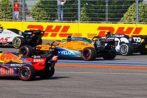 Kevin Magnussen, Haas VF-20, Lando Norris, McLaren MCL35, and Daniil Kvyat, AlphaTauri AT01
