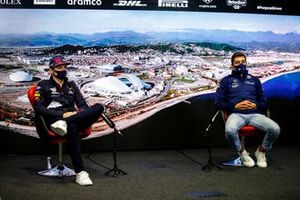 Max Verstappen, Red Bull Racing and George Russell, Williams in the Press Conference
